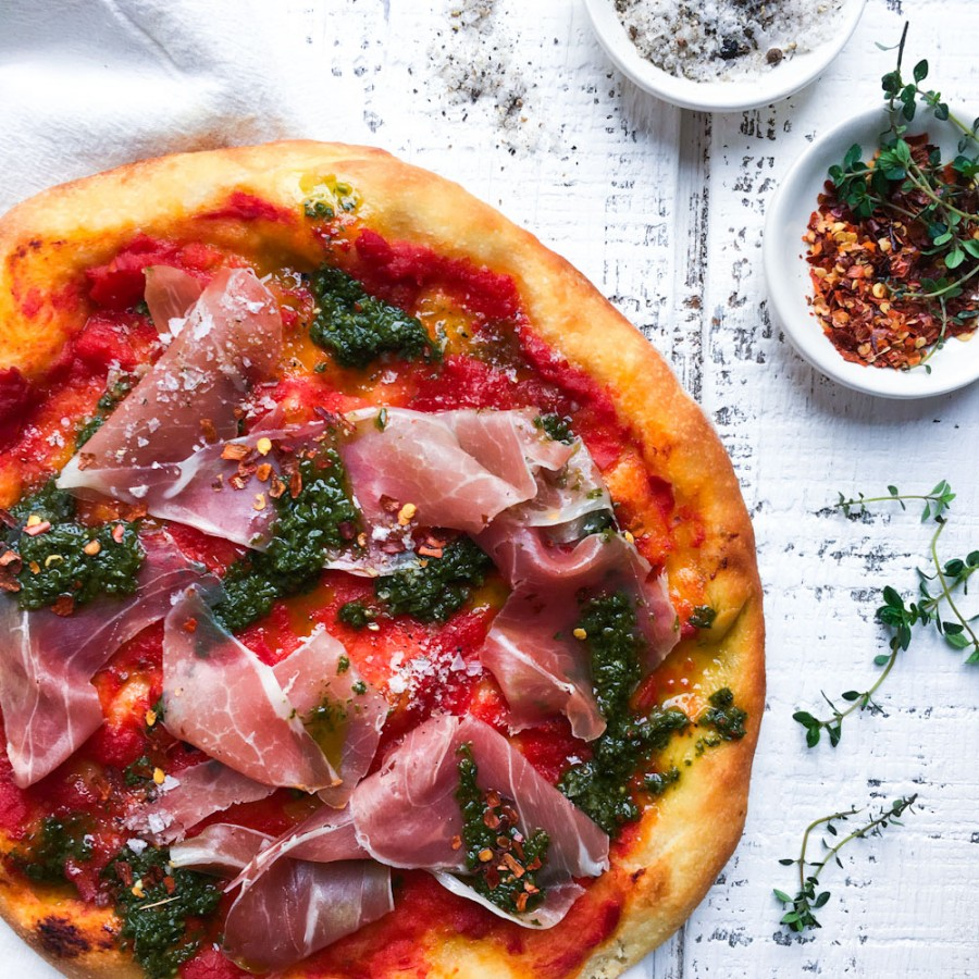 Tomato Pizza with Prosciutto and Pesto