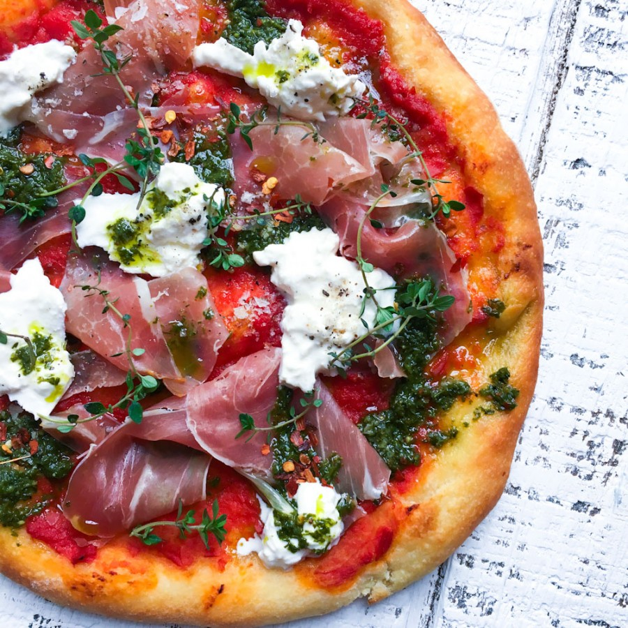 Tomato and Pesto Pizza with Prosciutto and Burrata