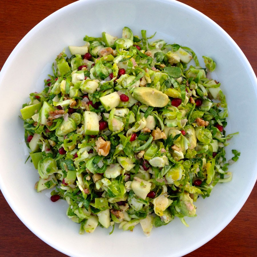 Brussels Sprout Salad with Apples, Avocado and Walnuts