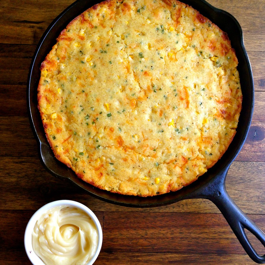 Cheddar and Chive Brown Butter Cornbread