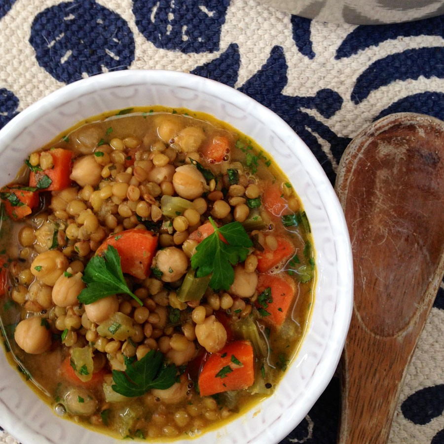 Lemony Green Lentil and Chickpea Soup