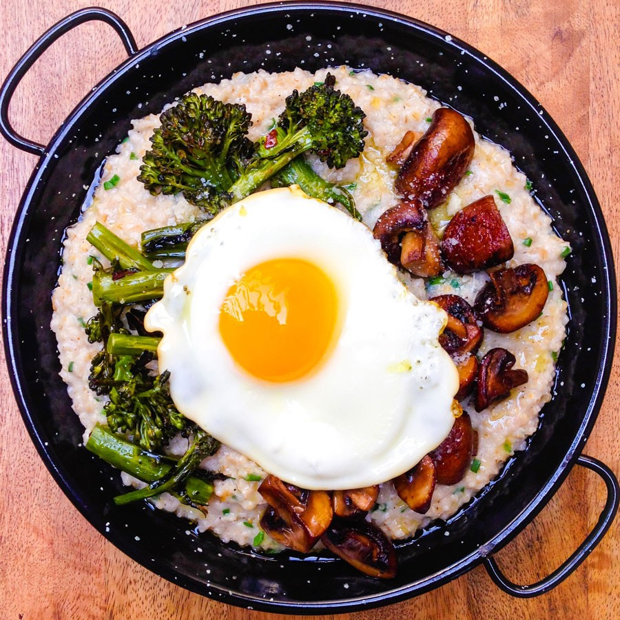 Savory Oatmeal with Mushrooms, Roasted Broccolini and Sunny-Side Up Egg