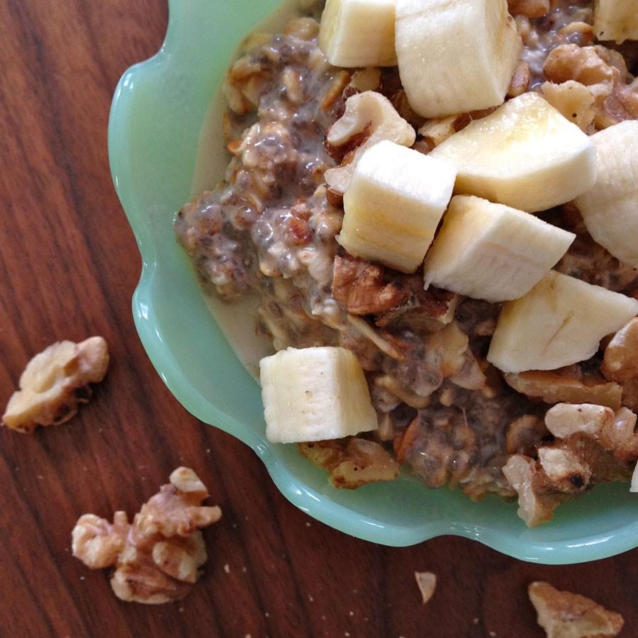 Overnight Banana and Walnut Oatmeal