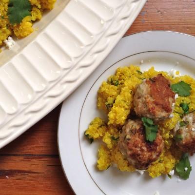 Za'atar and Feta Turkey Meatballs over Turmeric Quinoa