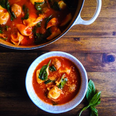 Tomato Basil Soup with Tortelloni, Sausage and Spinach