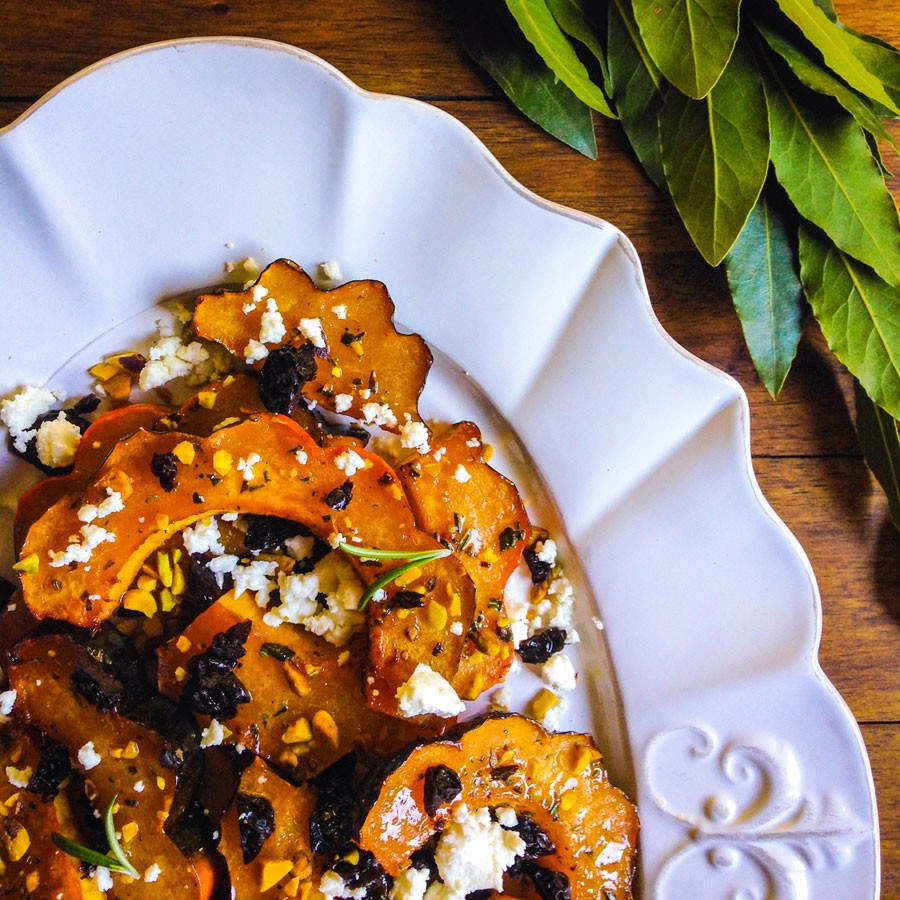 Roasted Acorn Squash with Rosemary, Honey and Feta