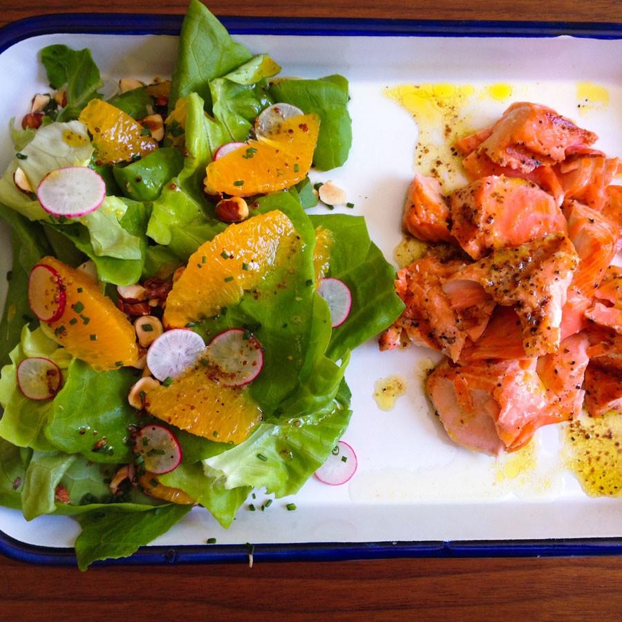 Grilled Salmon Salad with Radish, Orange and Hazelnut