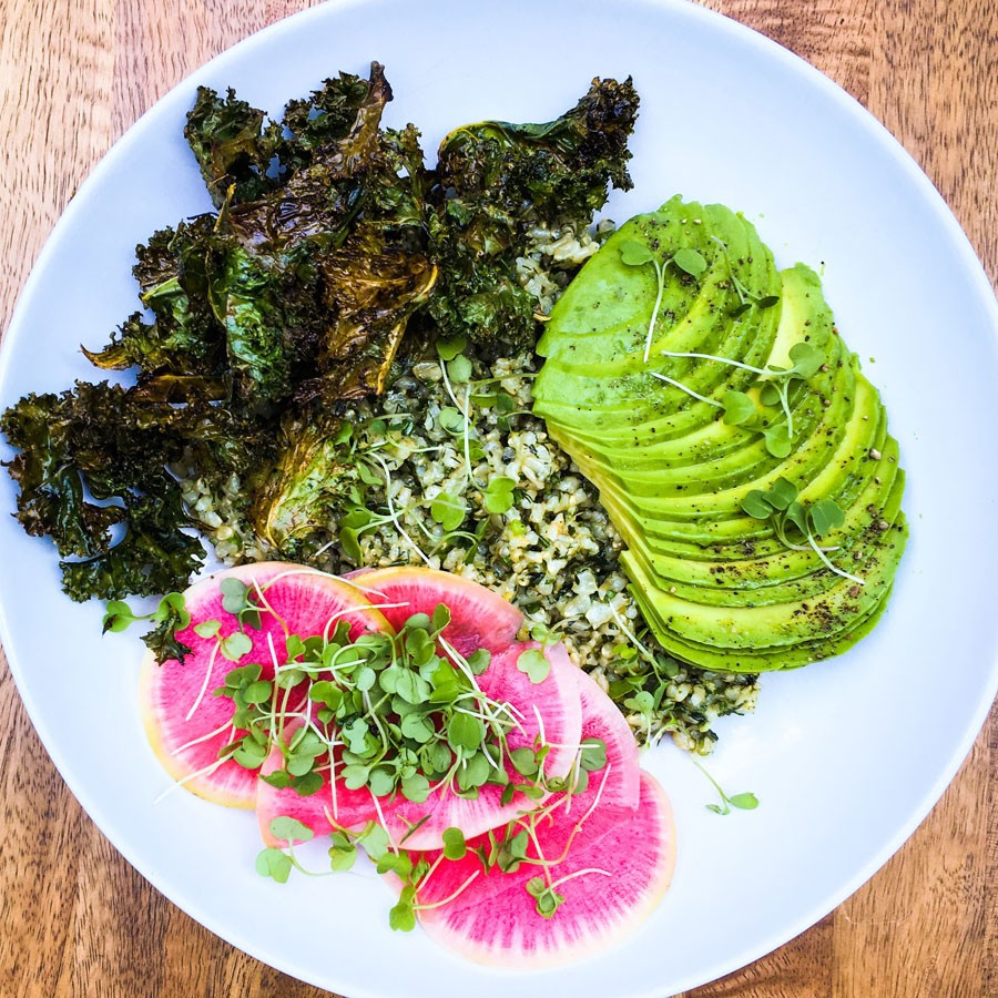Green Rice Bowl with Crispy Kale and Avocado