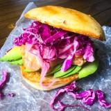 Grilled Chicken Sandwich with Spicy Slaw and Pickled Onions