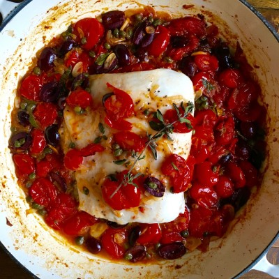 Baked Halibut with Tomatoes, Capers, Olives and White Wine
