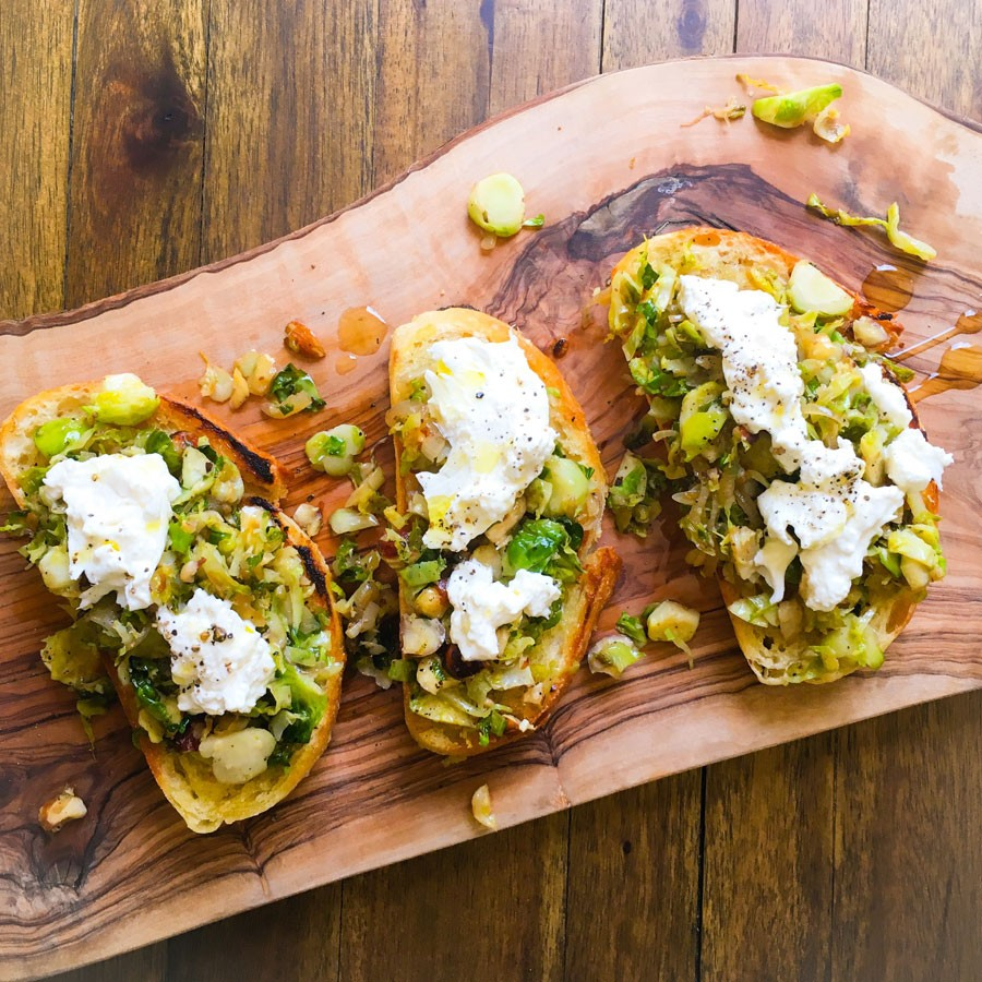 Brussels Sprout and Burrata Toast