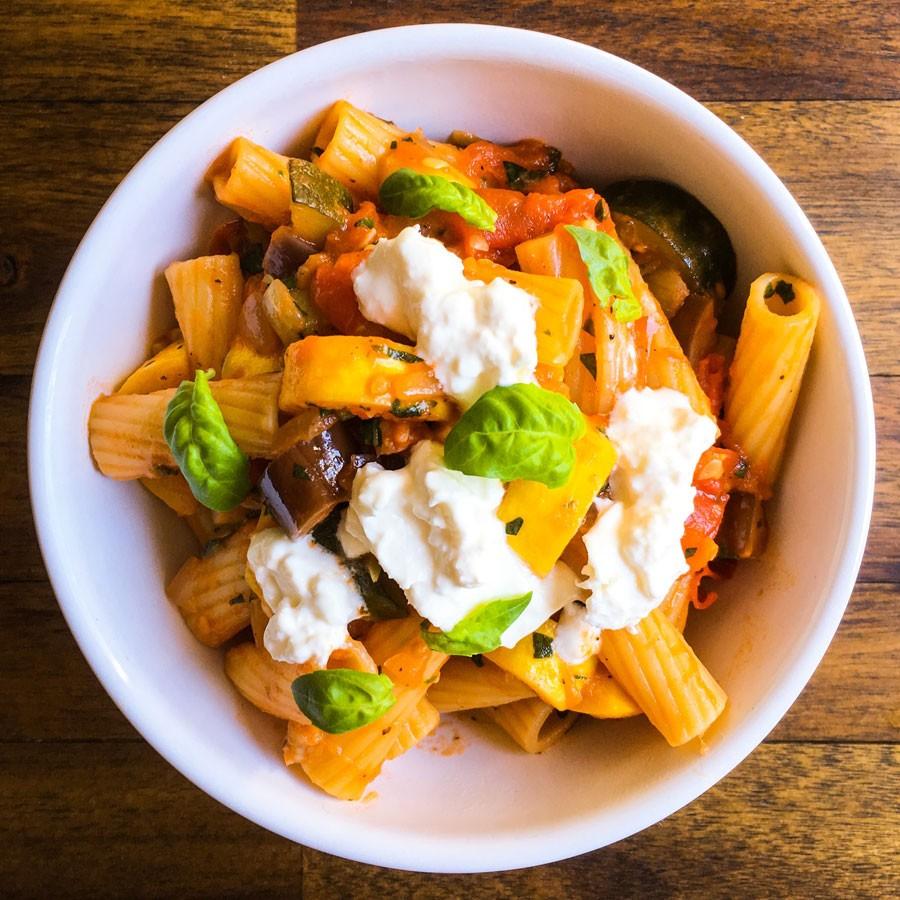Veggie Pasta with Burrata and Basil