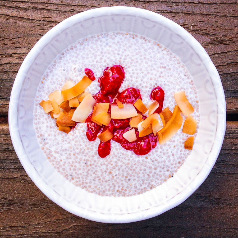 Coconut Milk Chia Seed Pudding with Raspberry Jam