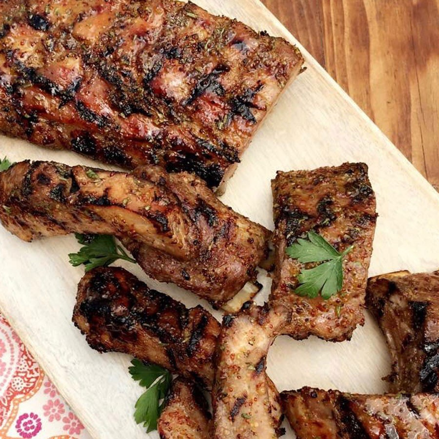 Grilled Baby Back Ribs with Rosemary and Honey