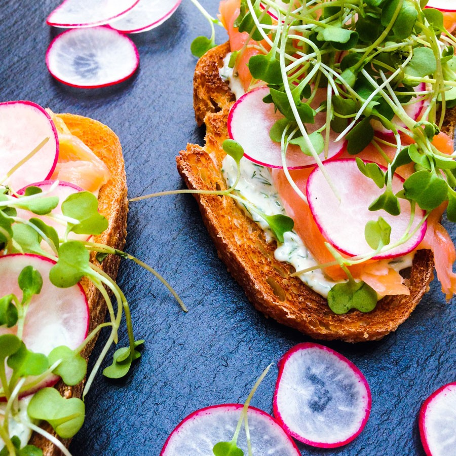 Smoked Salmon Tartine with Dill and Caper Mayo