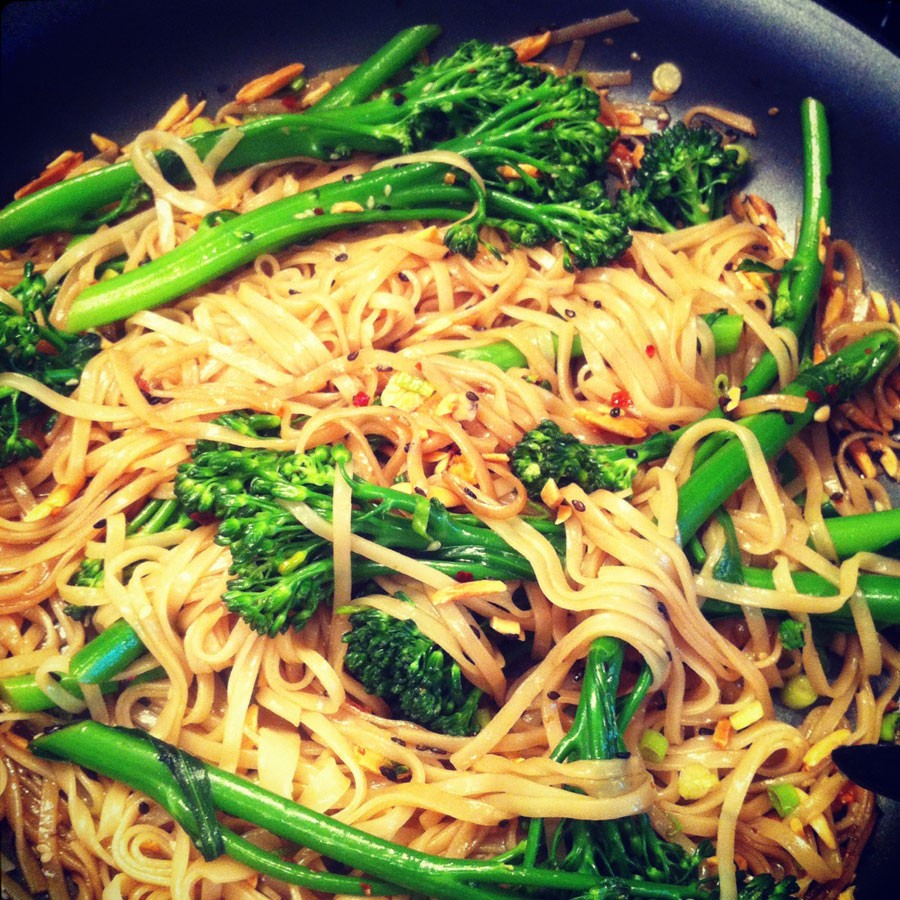 Rice Noodles with Broccolini, Soy and Sesame