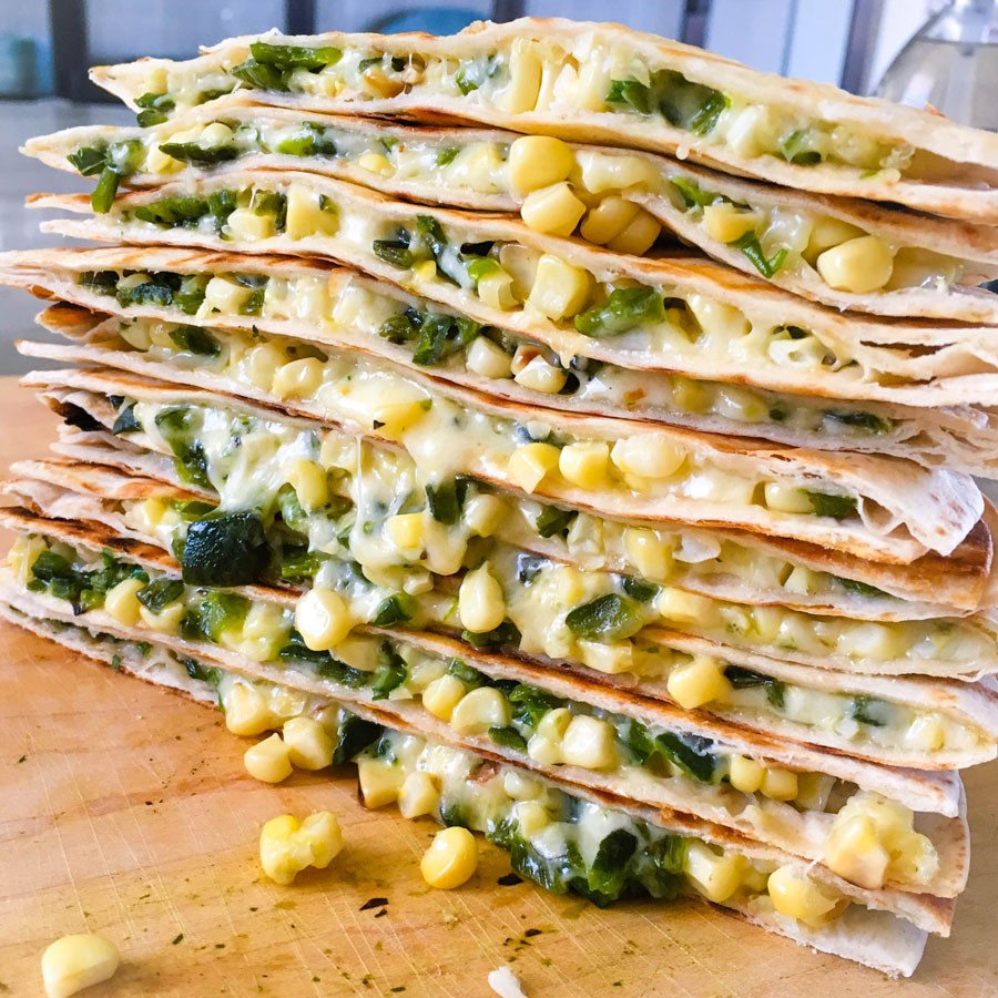 Grilled Quesadillas with Poblano and Corn