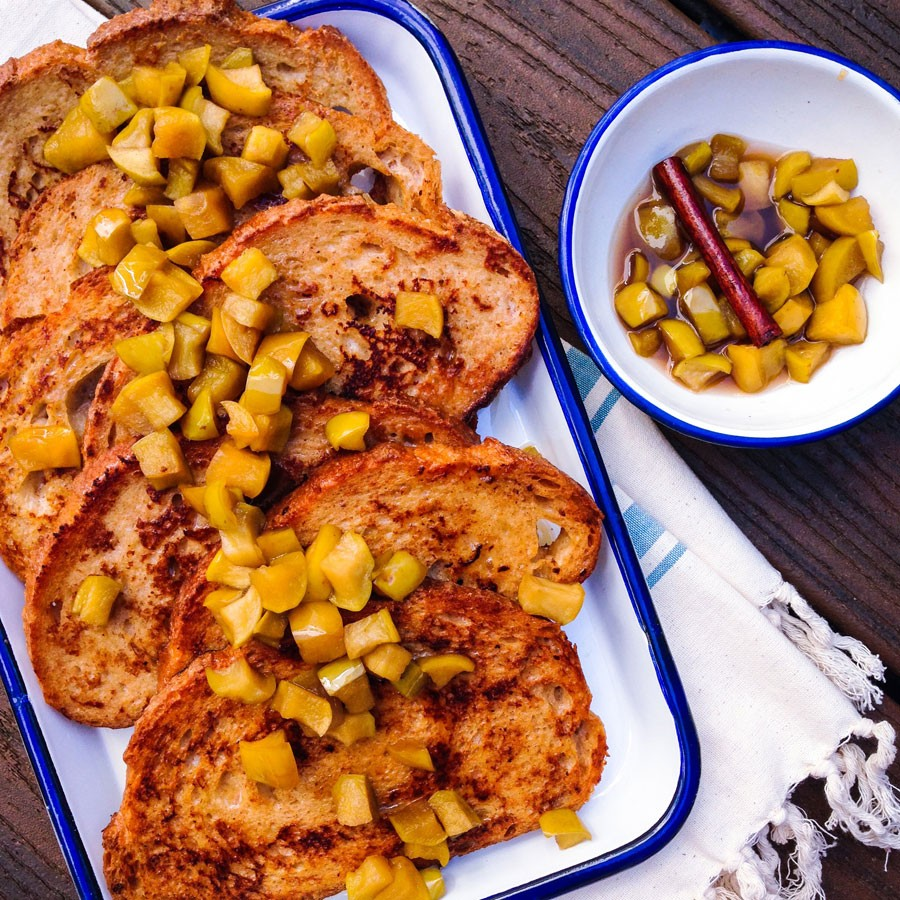 Buttermilk French Toast with Bourbon Maple Apples