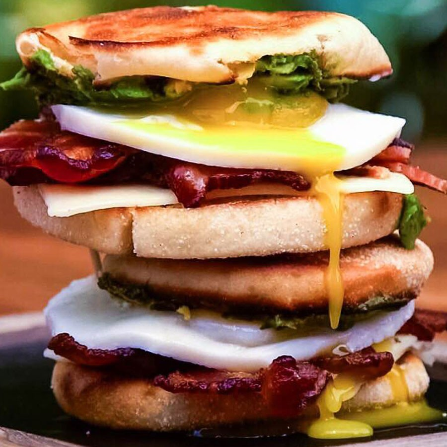 Grilled Bacon and Avocado Breakfast Sandwiches