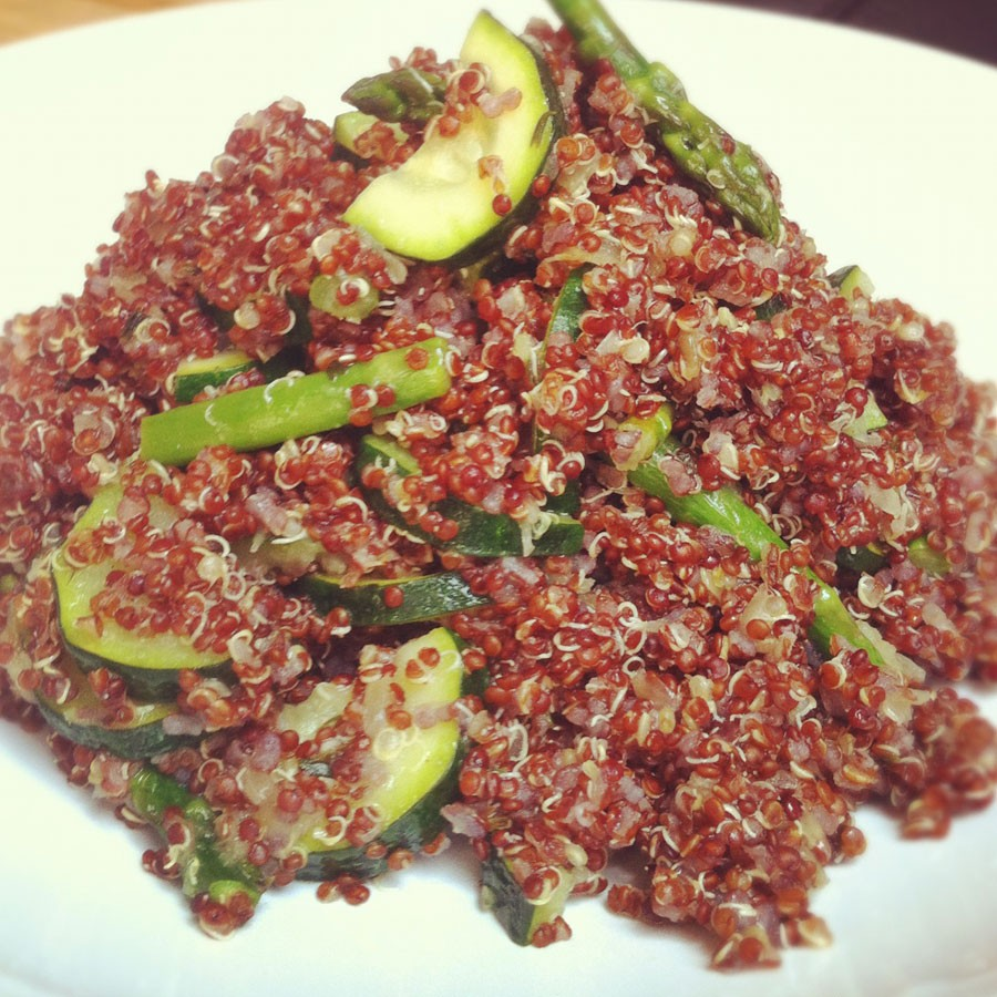 Red Quinoa with Zucchini and Asparagus