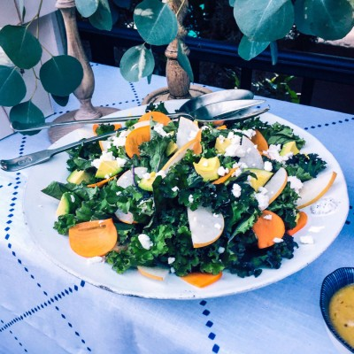 Red Kale, Persimmon and Feta Salad