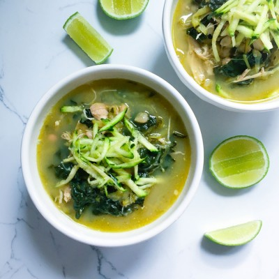 Spicy Chicken Soup with Kale, Zucchini and White Beans