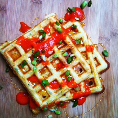 Savory Waffles with Honey and Sriracha