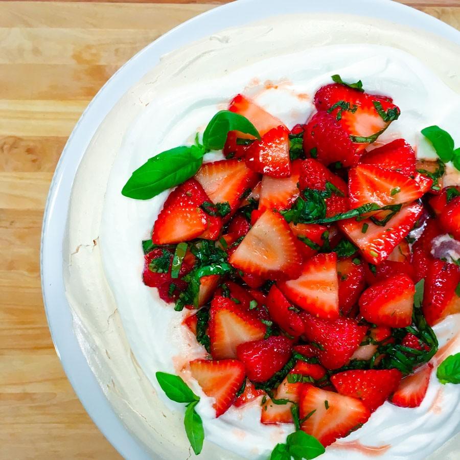 Strawberry Basil Pavlova