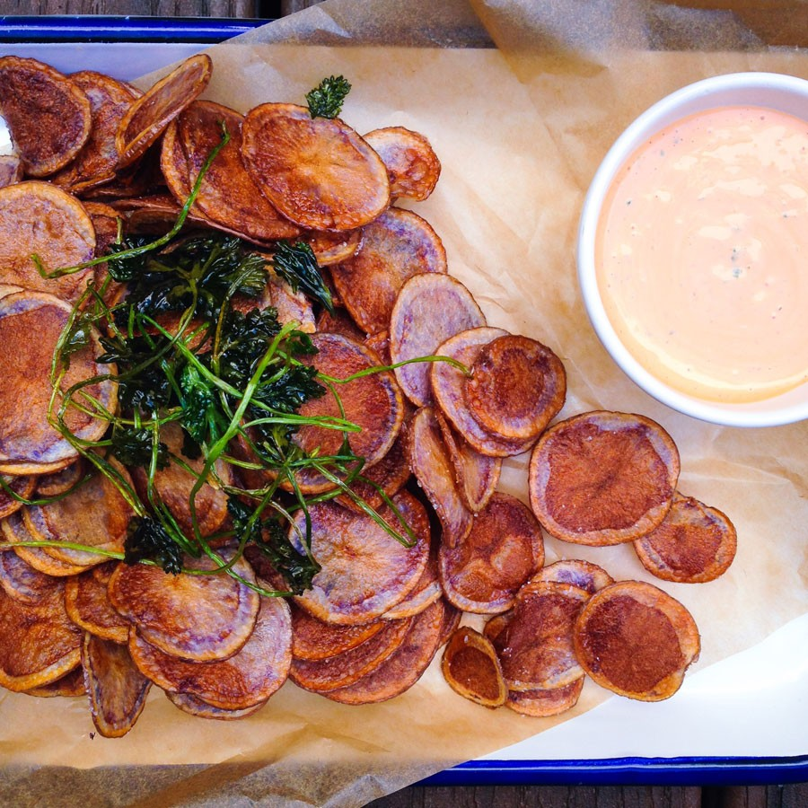 Purple Potato Chips with Spicy Cilantro Dipping Sauce