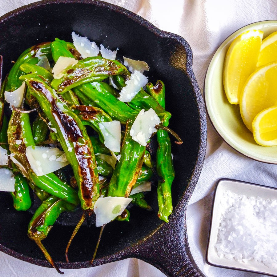 Blistered Shishito Peppers with Lemon and Parmesan