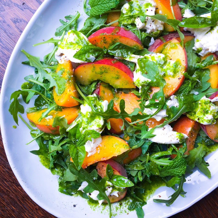 Peach, Burrata and Arugula Salad with Basil Mint Oil