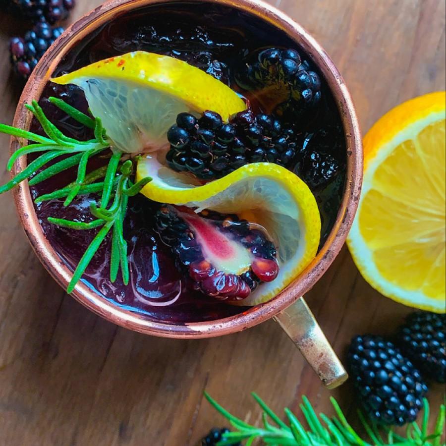 Blackberry Bourbon Smash with Fresh Rosemary