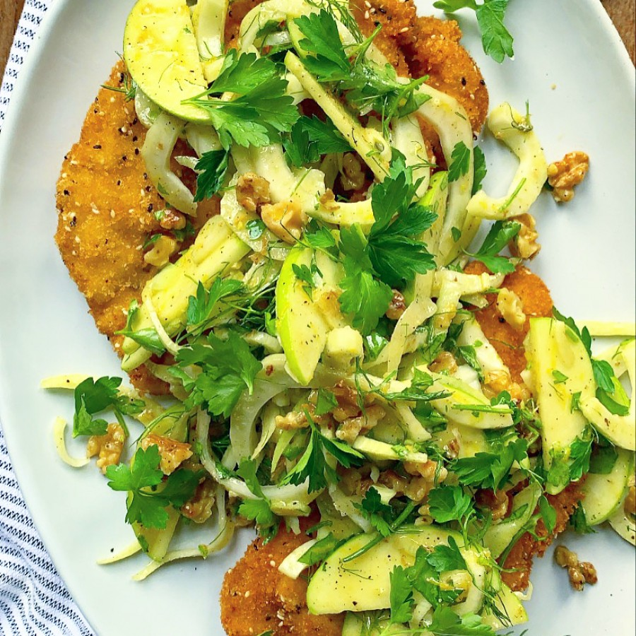 Crispy Chicken with a Fennel, Walnut and Apple Salad
