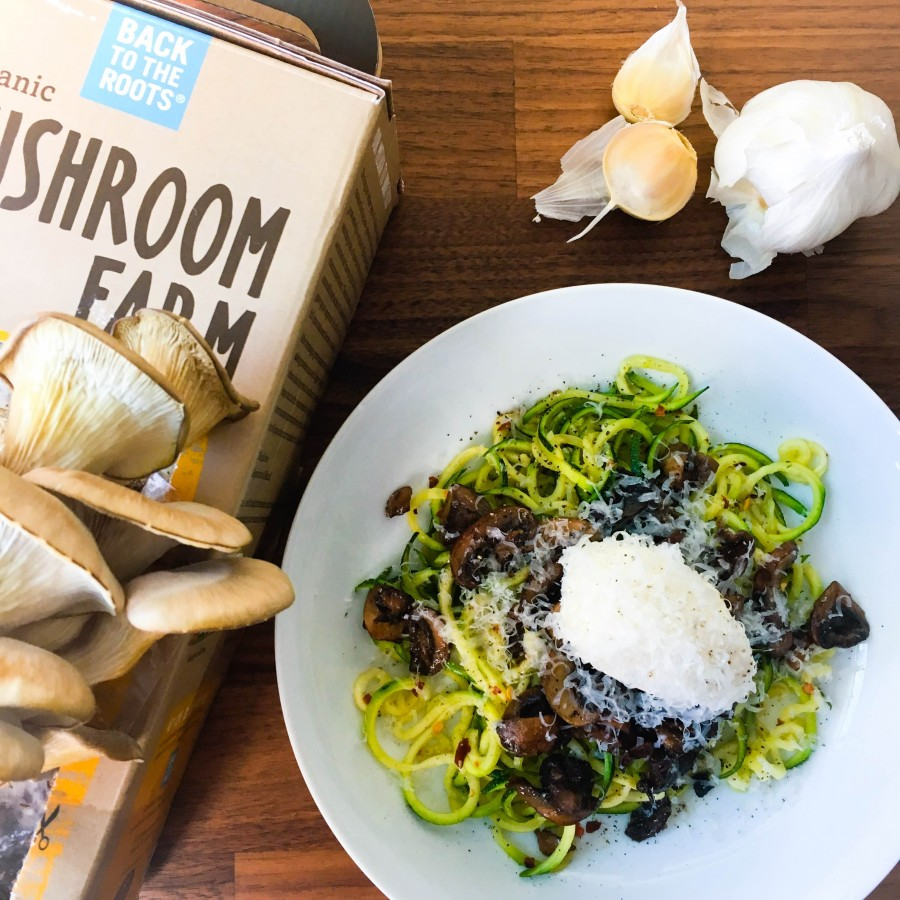 Zoodles with Garlic Mushrooms and Ricotta