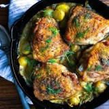 Crispy Chicken Thighs with Fennel, Rosemary and Baby Potatoes