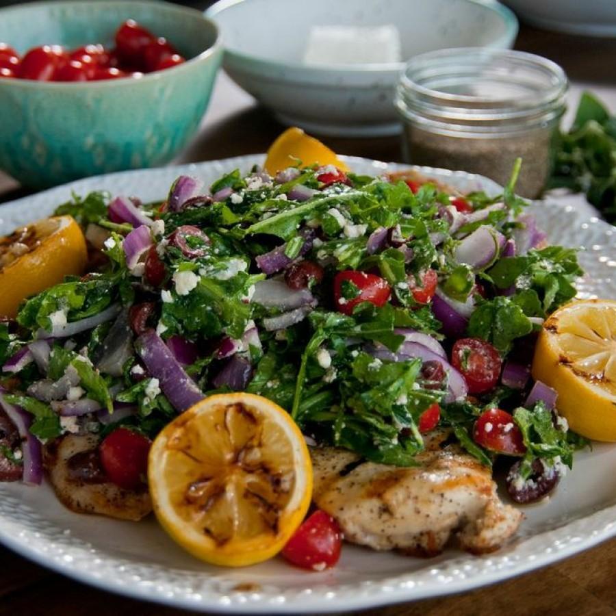Grilled Chicken Paillard with Greek Salad